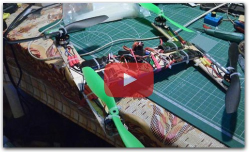 Easy quadrocopter from wooden rulers