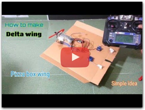 How to make a RC plane - Delta wing rc plane - Pizza box rc plane