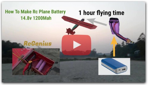 How To Make Rc Plane in 18650 Battery 14.8v 1200Mah
