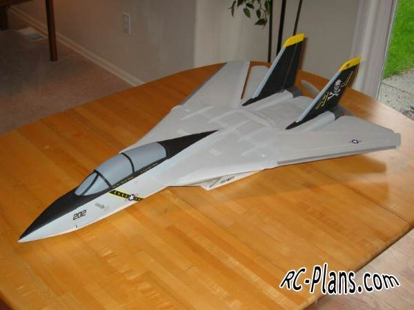 Free plans for foam scale rc airplane F-14 Tomcat Park Jet