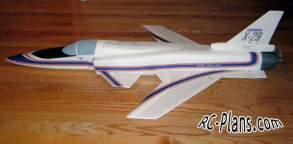 Free plans for foam scale rc airplane Grumman X-29