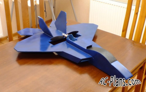 Free plans for rc flying wing F-22 Raptor